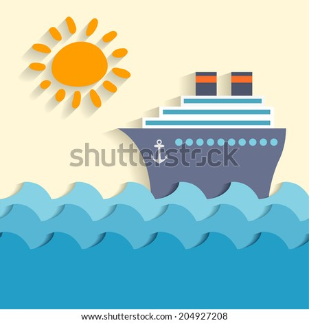 Sea cartoon poster with ship and sun  illustration