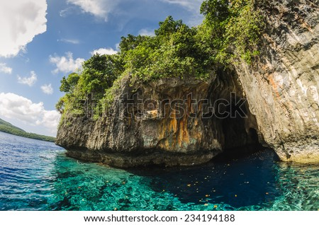 sea cave in the kingdom of Tonga - stock photo