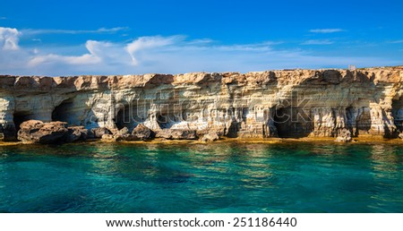 sea caves near Ayia Napa - a place of interest at Cape Greco, Cyprus - stock photo