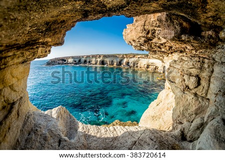 Sea Caves near Ayia Napa, Cyprus. - stock photo