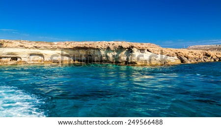 sea caves not far from Ayia Napa, Cape Greco, Cyprus - stock photo