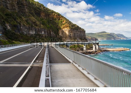 Sea Cliff Bridge along the Grand Pacific Drive, New South Wales, Australia - stock photo