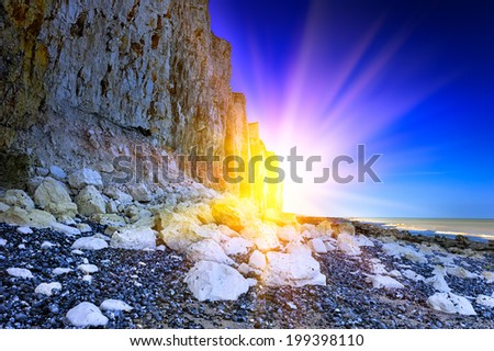 Sea cliff on the coastline of English Channel. Normandy, France - stock photo