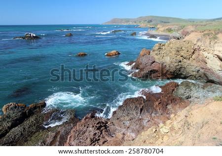 Sea Cliffs, Estero Bluffs State Park, near Big Sur, California, USA - stock photo
