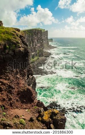 Sea cliffs in Orkney, Scotland, UK. - stock photo