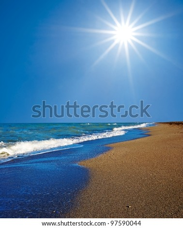 sea coast by a hot summer day - stock photo