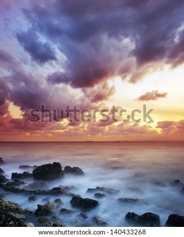 sea coast in Crimea - stock photo
