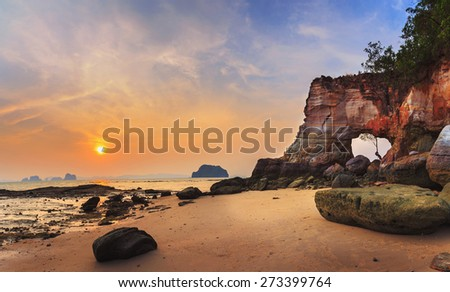 Sea coast of Laem Chamuk Khwai in sunset, panorama view, Krabi, Thailand - stock photo