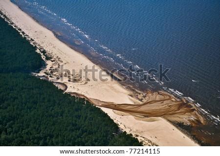 Sea coast of Riga Gulf - stock photo