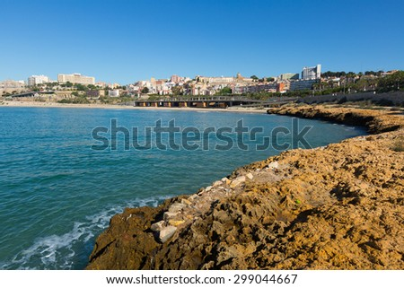Sea coast of Tarragona in sunny  day. Catalonia, Spain