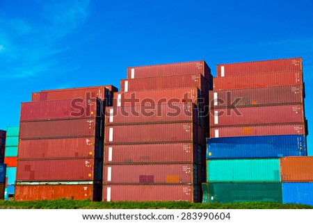 Sea containers in Port of Rotterdam - stock photo
