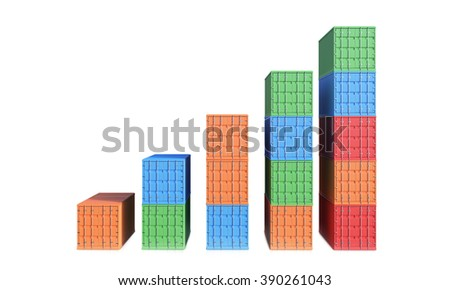 Sea containers of different colours arranged as bar chart. Front view. Isolated. White. Concept of shipping. 3D rendering