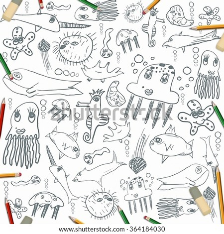 sea creatures, child drawing background isolated on white with color pencils