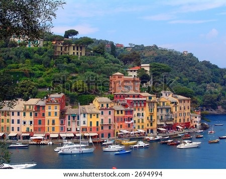 Sea dock in beautiful Italian town Portofino