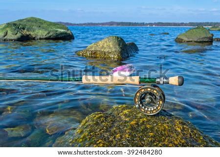 Sea fly fishing in spring season - stock photo