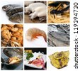 sea food collage made from nine photos - stock photo