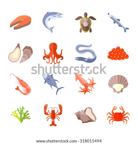 Sea food icon flat set with lobster salmon shrimp isolated  illustration - stock photo