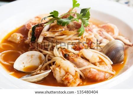 sea food pasta - stock photo