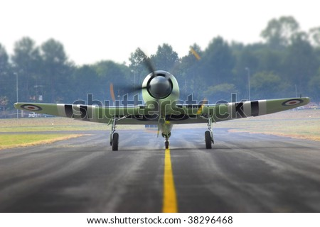 sea fury in action - stock photo