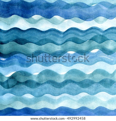 Sea hand painted waves. Abstract blue watercolor blot background. Aquarelle texture.