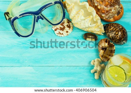 Sea holidays concept. Beach party.  Beach drink. Tropical relax.Beach cocktail. - stock photo