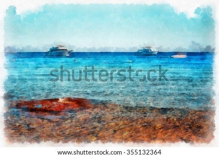 Sea, holidays, Egypt watercolor illustration