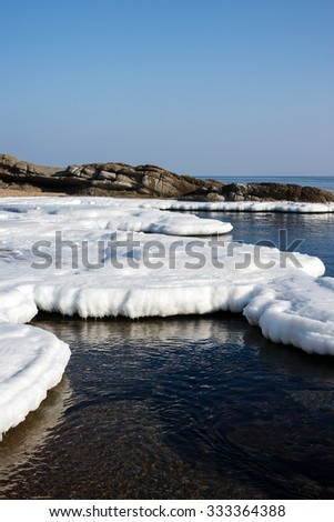 Sea ice, blocks of ice on the sea, the winter sea and the ocean, ice floe in the ocean, melting ice, spring in the North sea, wildlife - stock photo