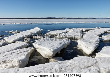 Sea ice is destroyed in the spring, White sea, Russia - stock photo