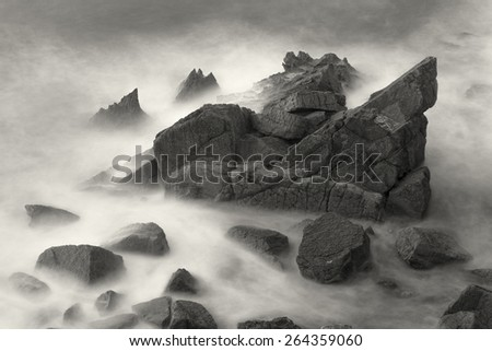 Sea in Liencres, Cantabria, Spain - stock photo