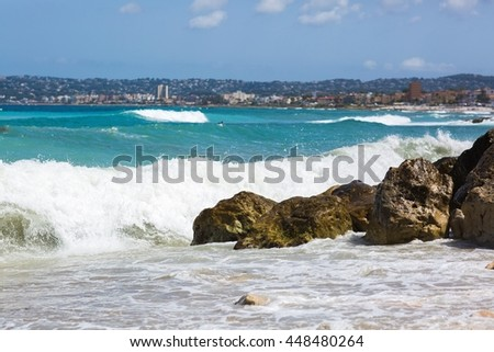Sea in slow motion - stock photo