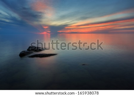 Sea in the Finnish summer night - stock photo