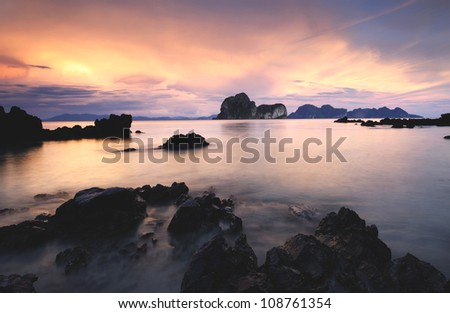 Sea in the sunset . - stock photo