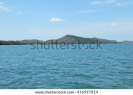 Sea,island and blue sky Background.