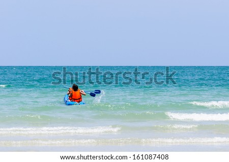 Sea kayak in thai ocean sai kaew beach - stock photo