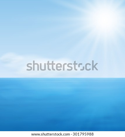 Sea Landscape Background, Calm Blue Ocean and Far Clouds on Horizon - raster - stock photo