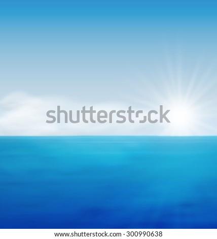 Sea Landscape Background Sunrise, Calm Blue Ocean and Far Clouds on Horizon - raster - stock photo