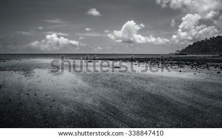 Sea landscape. Black and white - stock photo