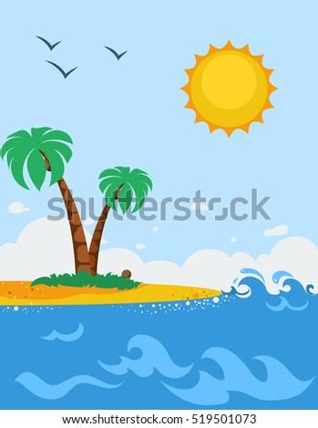 Sea landscape cartoon poster sandy beach stock illustration sea landscape cartoon poster with sandy beach palm trees sun and seagulls flat illustration voltagebd Choice Image