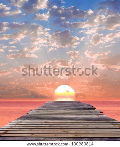 Sea Landscape Jetty - stock photo