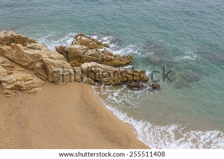 Sea landscape next to the seaside town of Calella. - stock photo