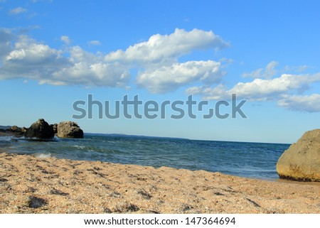 sea landscape, sea, rocks, sand, beach