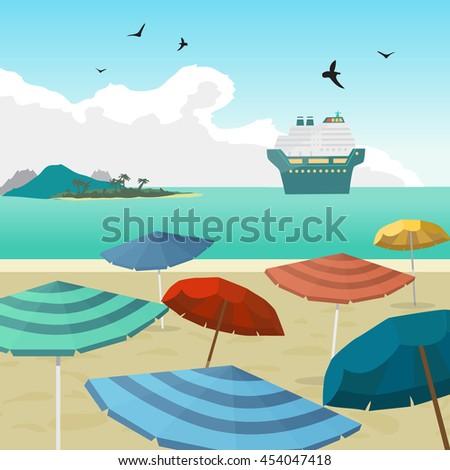 Sea landscape summer beach parasols, umbrellas, cruise ship. - stock photo