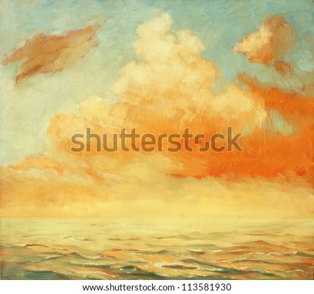 sea landscape with a cloud,  illustration, painting by oil on a canvas - stock photo