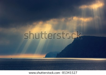 Sea landscape with bad weather and the cloudy sky. Crimea, Ukraine. - stock photo