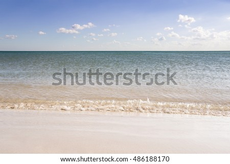 sea landscape with clouds and the sandy coast