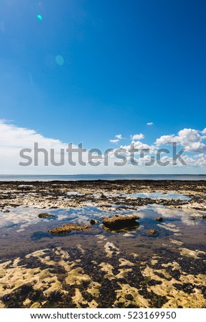Sea landscape with quiet water and blue sky