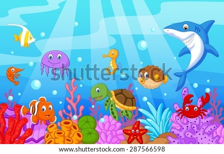 Sea life cartoon with fish collection set - stock photo