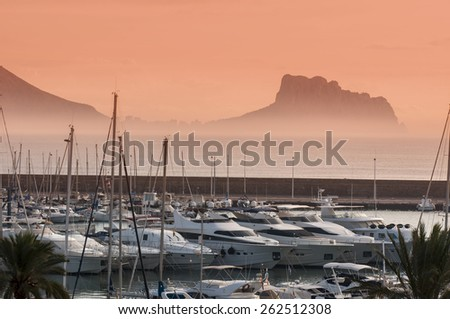 Sea Mediterranean bay with yachts at sunset  - Altea Spain - stock photo