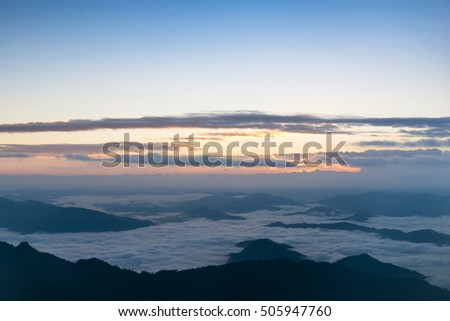 Sea mist in the morning at Phu chi fah, Chiang Rai, Thailand