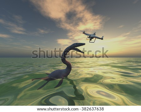 Sea monster and drone - stock photo